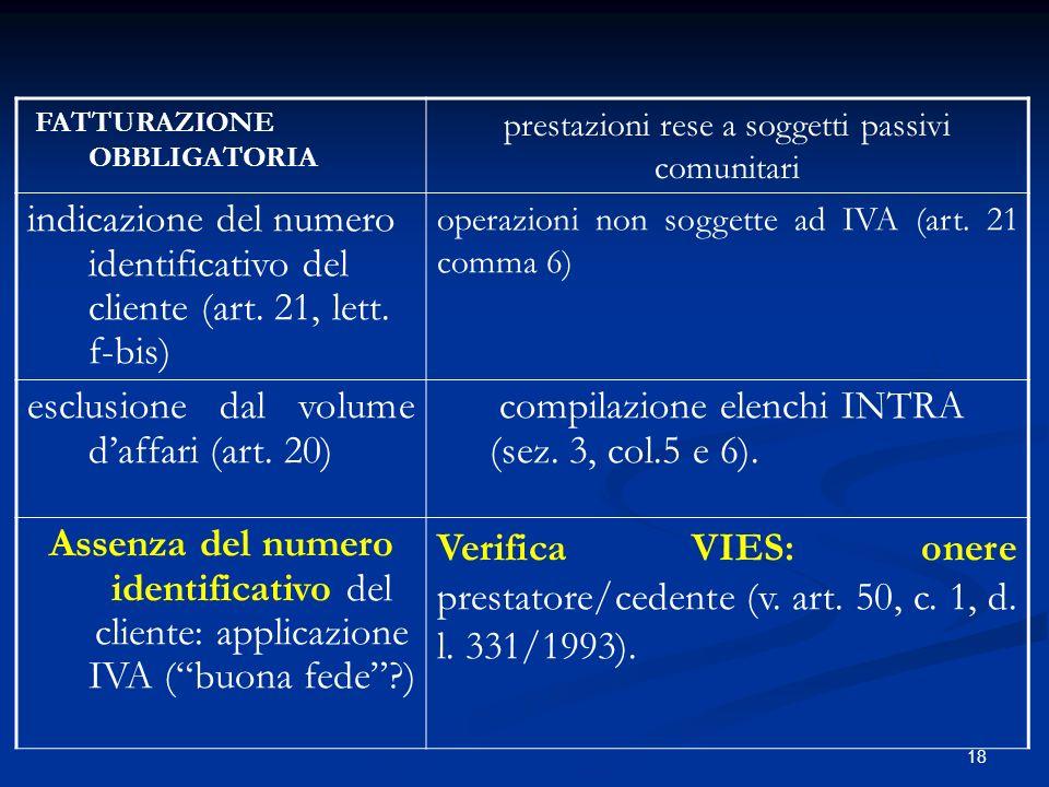 18 FATTURAZIONE OBBLIGATORIA prestazioni rese a soggetti passivi comunitari indicazione del numero identificativo del cliente (art.