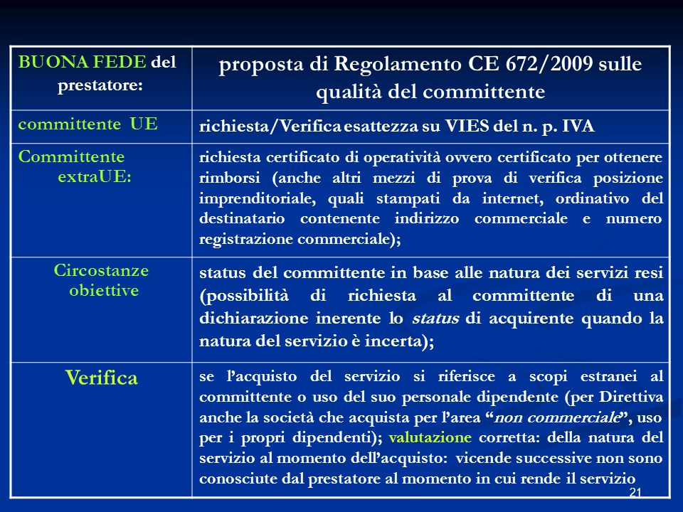 21 BUONA FEDE del prestatore: proposta di Regolamento CE 672/2009 sulle qualità del committente committente UE richiesta/Verifica esattezza su VIES del n.