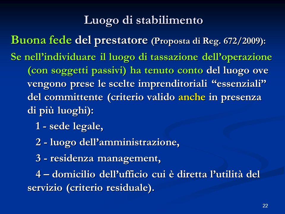 22 Luogo di stabilimento Buona fede del prestatore (Proposta di Reg.