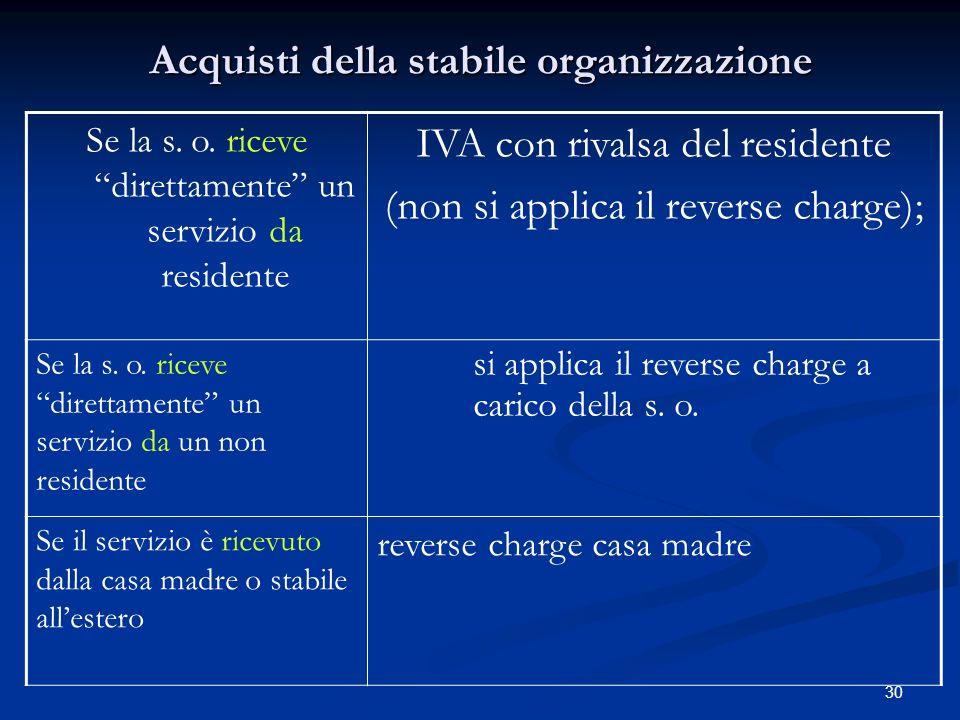 30 Acquisti della stabile organizzazione Se la s.o.