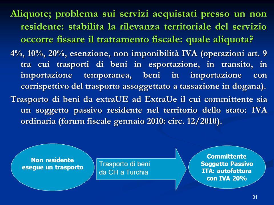 31 Aliquote; problema sui servizi acquistati presso un non residente: stabilita la rilevanza territoriale del servizio occorre fissare il trattamento fiscale: quale aliquota.