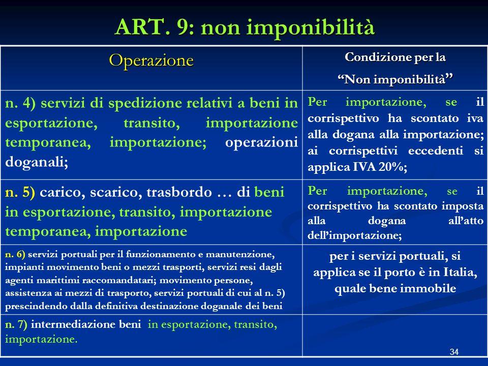 34 ART.9: non imponibilità Operazione Condizione per la Non imponibilità Non imponibilità n.