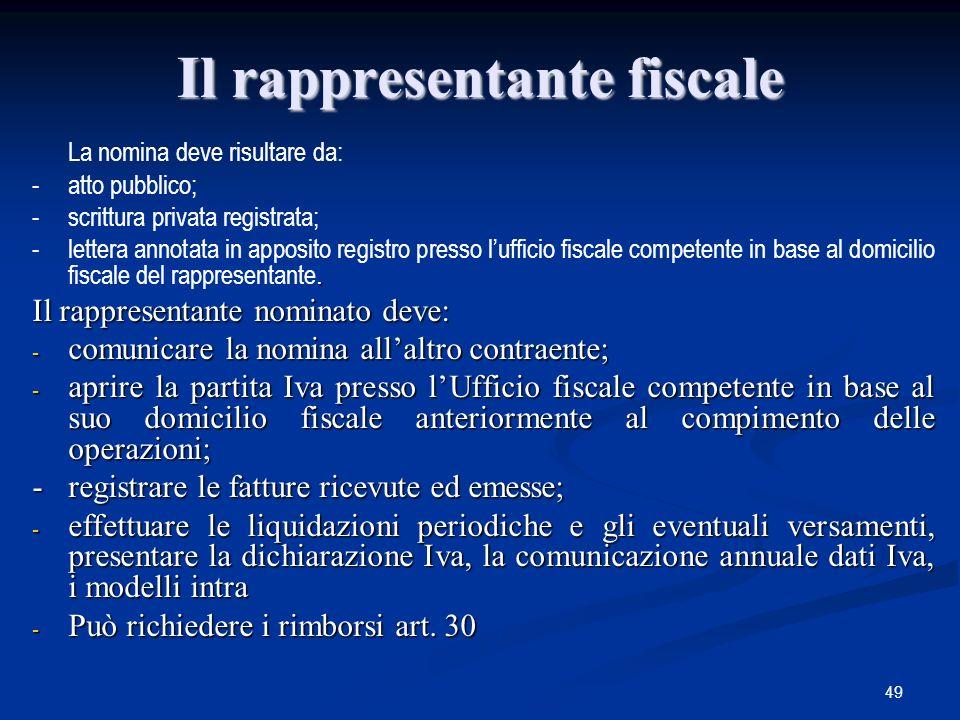 49 Il rappresentante fiscale La nomina deve risultare da: -atto pubblico; -scrittura privata registrata;.