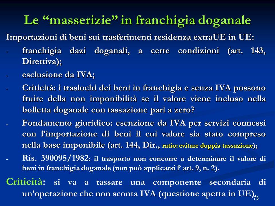 73 Le masserizie in franchigia doganale Le masserizie in franchigia doganale Importazioni di beni sui trasferimenti residenza extraUE in UE: - franchigia dazi doganali, a certe condizioni (art.