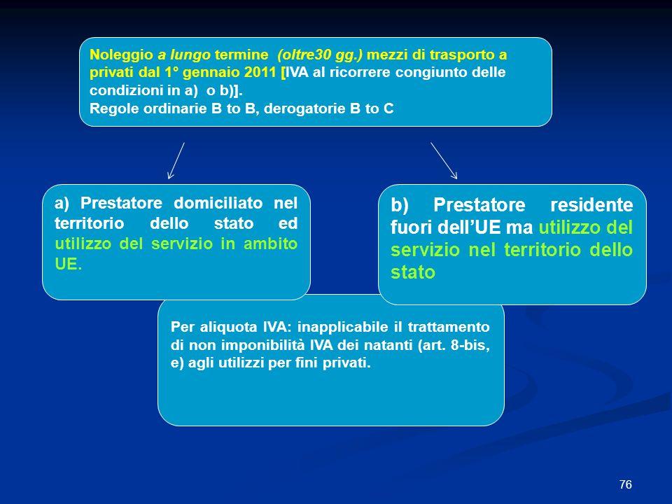 76 Noleggio a lungo termine (oltre30 gg.) mezzi di trasporto a privati dal 1° gennaio 2011 [IVA al ricorrere congiunto delle condizioni in a) o b)].