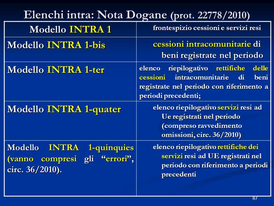 87 Elenchi intra: Nota Dogane (prot.