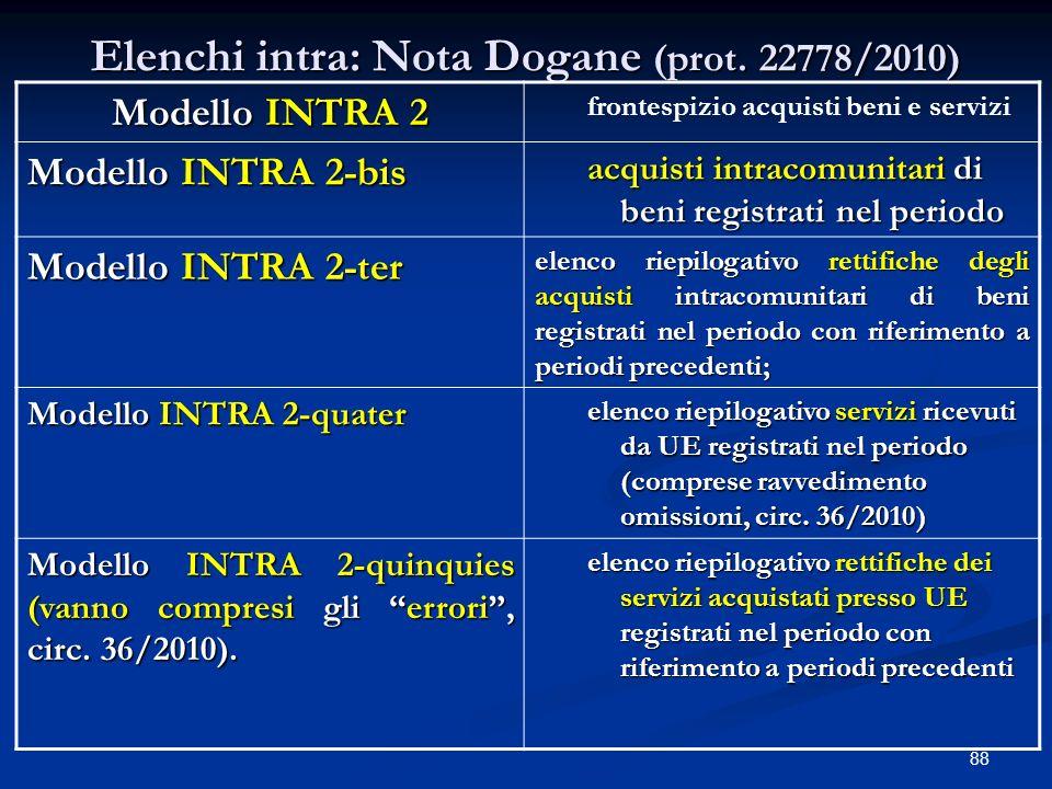 88 Elenchi intra: Nota Dogane (prot.