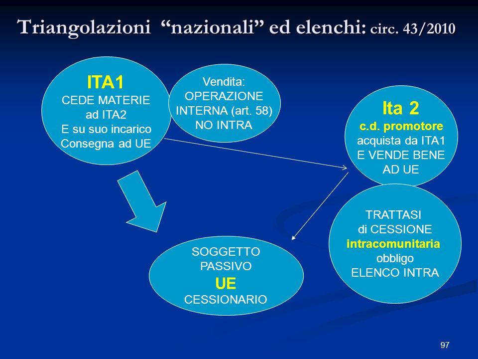 97 Triangolazioni nazionali ed elenchi: circ.