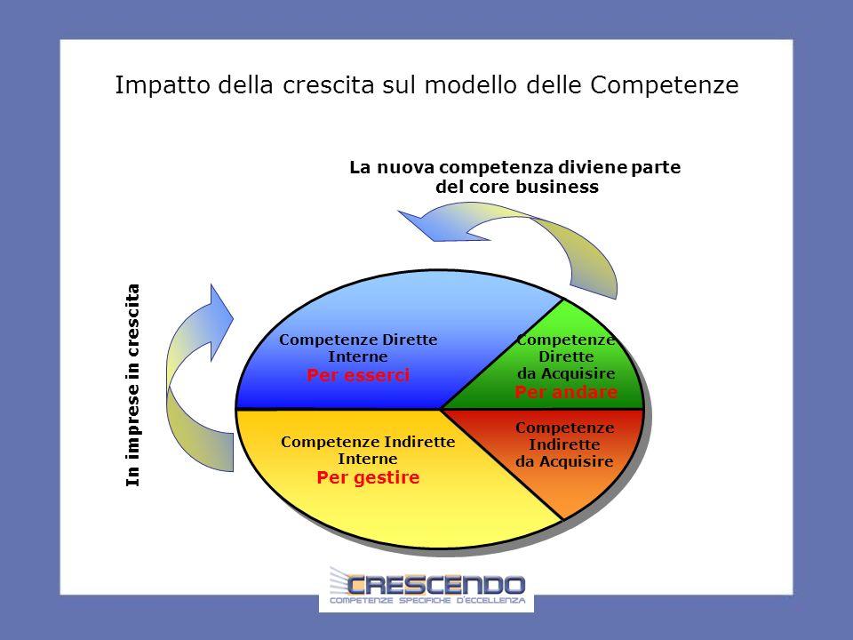 Impatto della crescita sul modello delle Competenze Competenze Dirette Interne Per esserci Competenze Dirette da Acquisire Per andare Competenze Indirette Interne Per gestire In imprese in crescita Competenze Indirette da Acquisire La nuova competenza diviene parte del core business