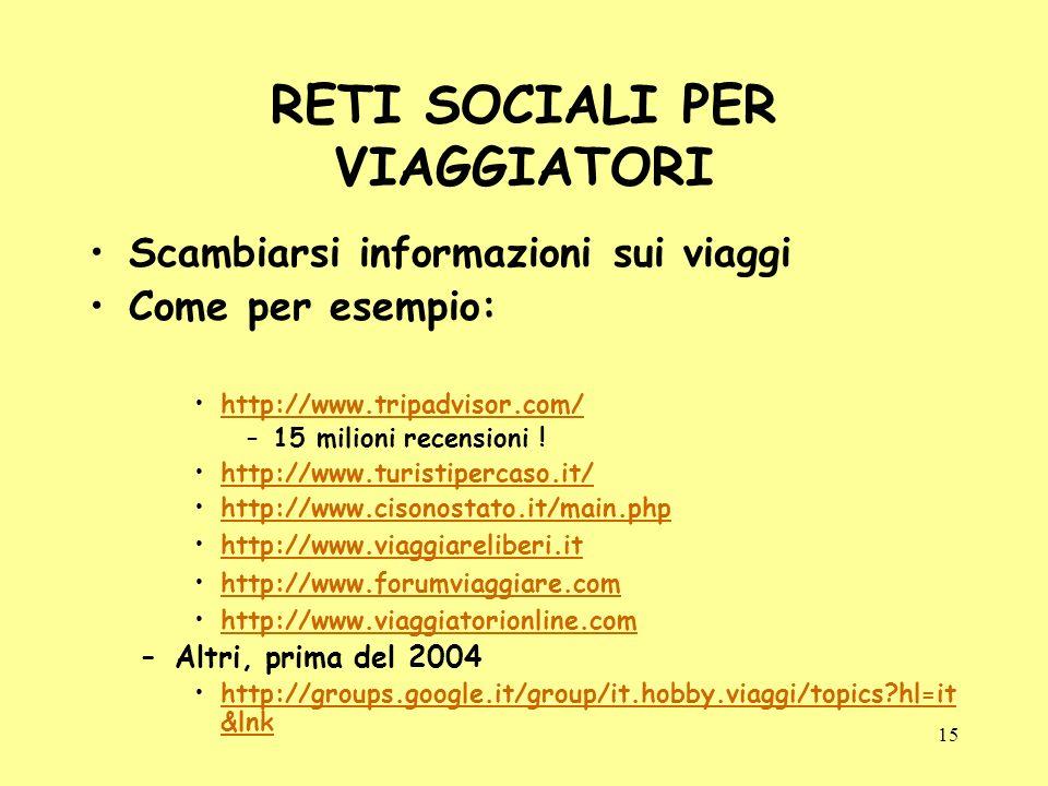 15 RETI SOCIALI PER VIAGGIATORI Scambiarsi informazioni sui viaggi Come per esempio: http://www.tripadvisor.com/ –15 milioni recensioni .