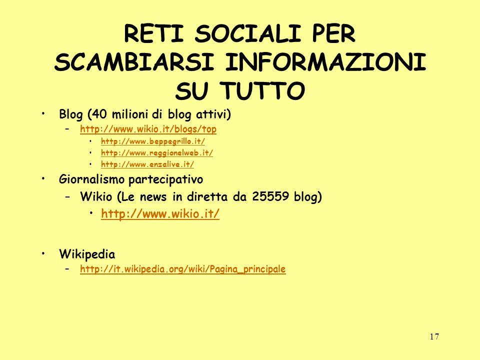 17 RETI SOCIALI PER SCAMBIARSI INFORMAZIONI SU TUTTO Blog (40 milioni di blog attivi) –http://www.wikio.it/blogs/tophttp://www.wikio.it/blogs/top http://www.beppegrillo.it/ http://www.reggionelweb.it/ http://www.enzalive.it/ Giornalismo partecipativo –Wikio (Le news in diretta da 25559 blog) http://www.wikio.it/ Wikipedia –http://it.wikipedia.org/wiki/Pagina_principalehttp://it.wikipedia.org/wiki/Pagina_principale