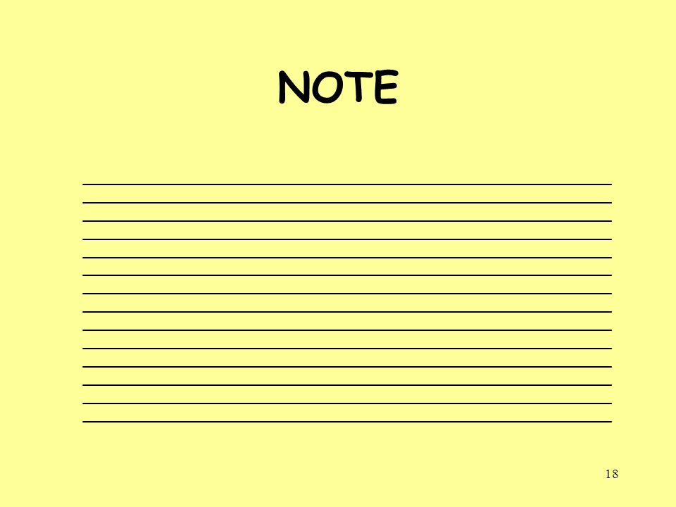 18 NOTE __________________________________________________ __________________________________________________ ________________________________________