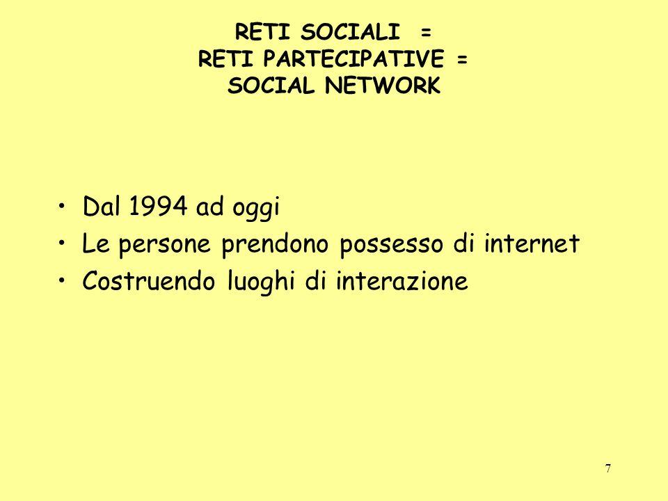 7 RETI SOCIALI = RETI PARTECIPATIVE = SOCIAL NETWORK Dal 1994 ad oggi Le persone prendono possesso di internet Costruendo luoghi di interazione