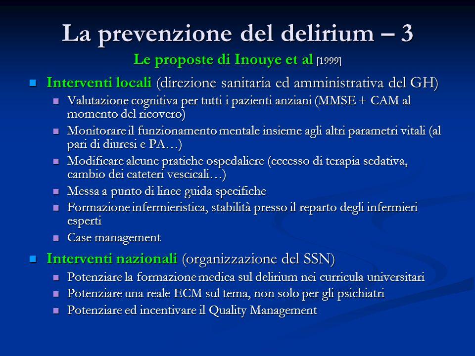 La prevenzione del delirium – 3 Le proposte di Inouye et al [1999] Interventi locali (direzione sanitaria ed amministrativa del GH) Interventi locali