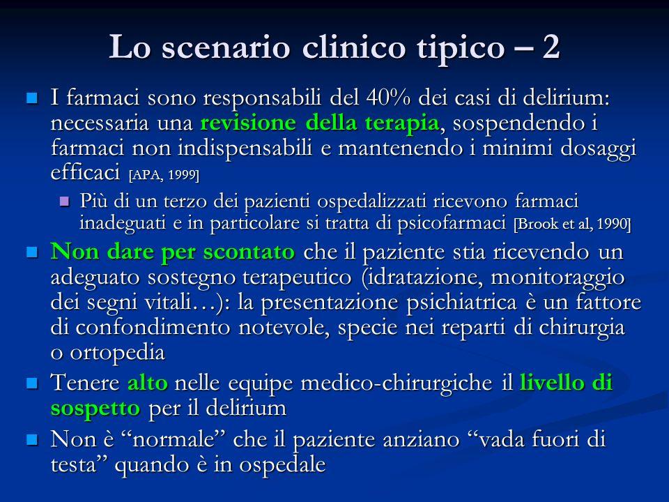 Lo scenario clinico tipico – 2 I farmaci sono responsabili del 40% dei casi di delirium: necessaria una revisione della terapia, sospendendo i farmaci