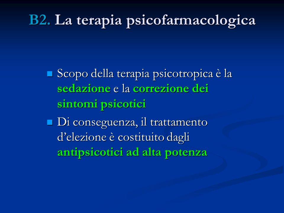 B2. La terapia psicofarmacologica Scopo della terapia psicotropica è la sedazione e la correzione dei sintomi psicotici Scopo della terapia psicotropi