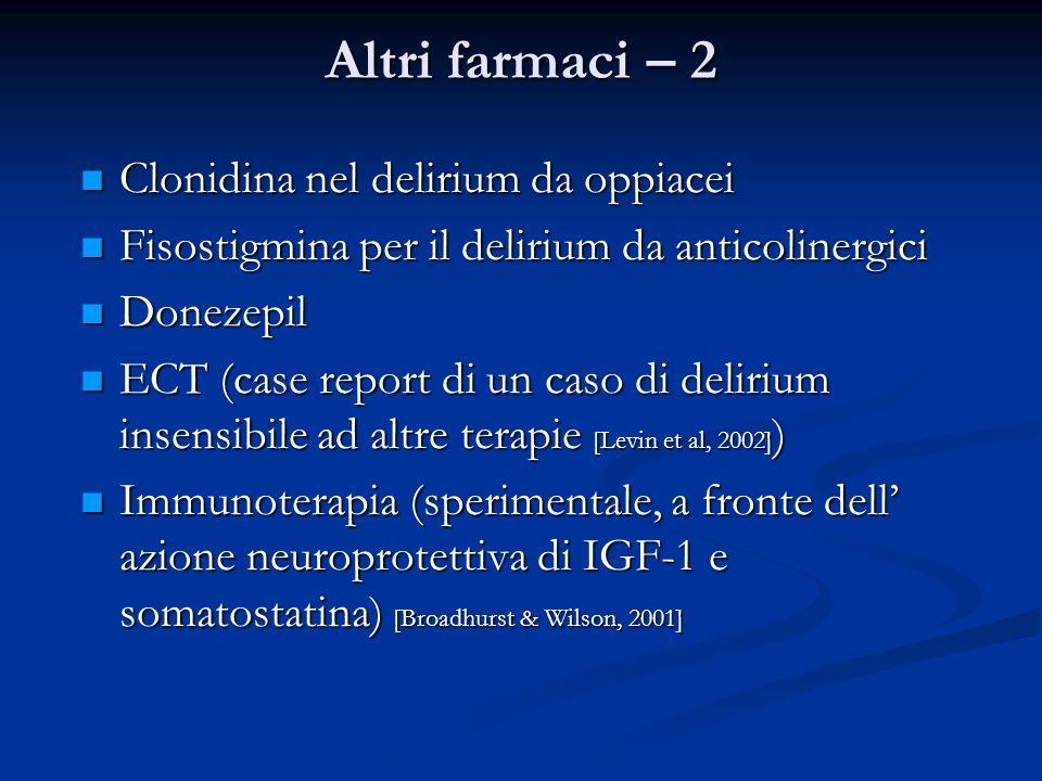 Altri farmaci – 2 Clonidina nel delirium da oppiacei Clonidina nel delirium da oppiacei Fisostigmina per il delirium da anticolinergici Fisostigmina p