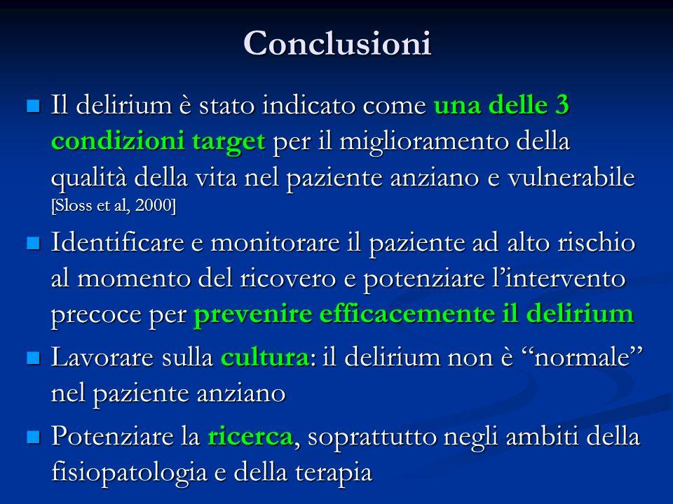 Conclusioni Il delirium è stato indicato come una delle 3 condizioni target per il miglioramento della qualità della vita nel paziente anziano e vulne
