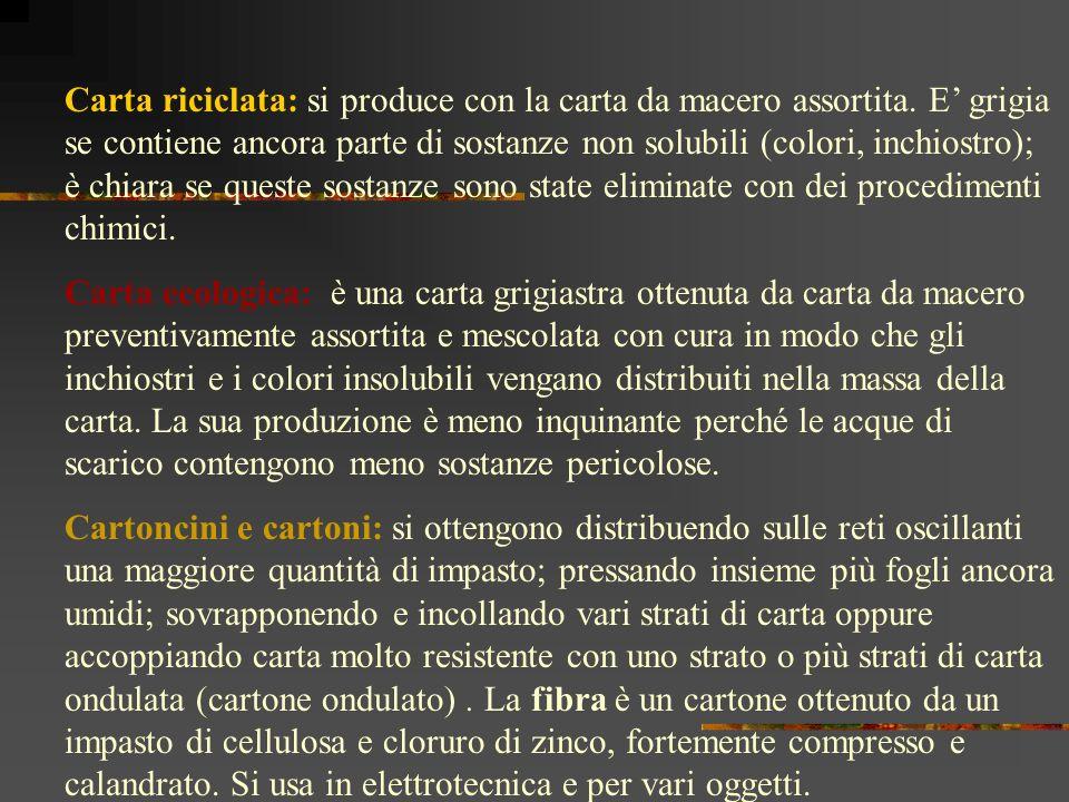 Carta da impacco: ne esistono di molte varietà, tra cui le veline (sottilissime e semitrasparenti, costituite quasi esclusivamente da cellulosa), le oleate ( sono trattate in modo da risultare impermeabili ai grassi e trasparenti), la carta paraffinata (trattata con paraffina, è usata per la confezione di contenitori che debbono preservare il contenuto dallumidità), le kraft (dal termine tedesco forza, è usata per confezionare sacchi e sacchetti di vario genere, la carta paglia (si ottiene appunto dalla paglia, è usata per avvolgere alimenti e per preparare i recipienti per il latte e altre bevande).