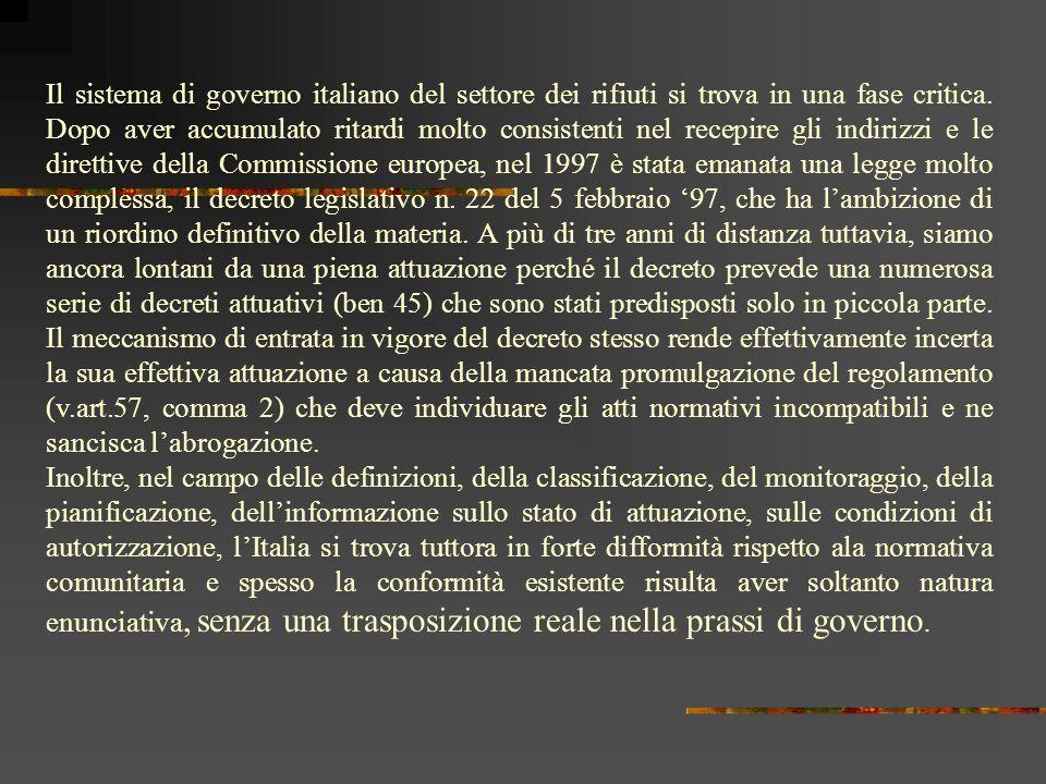 Emergenza rifiuti La situazione in Italia