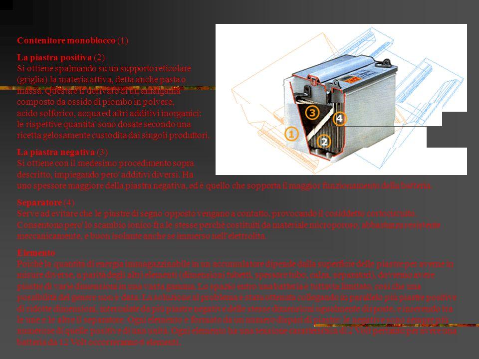 La batteria, o accumulatore, è ricaricabile ed è costituita da una serie di accumulatori attraverso i quali la corrente elettrica prodotta si muove pr