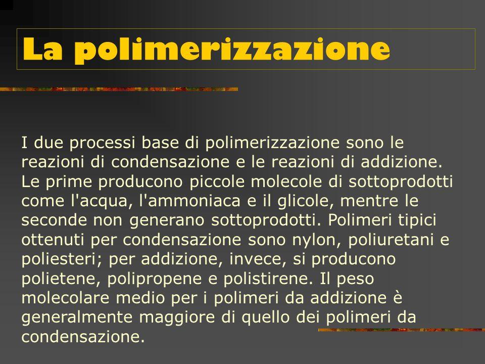Tipi di materie plastiche Le materie plastiche possono essere classificate secondo : il processo di polimerizzazione, la lavorabilità la natura chimica.