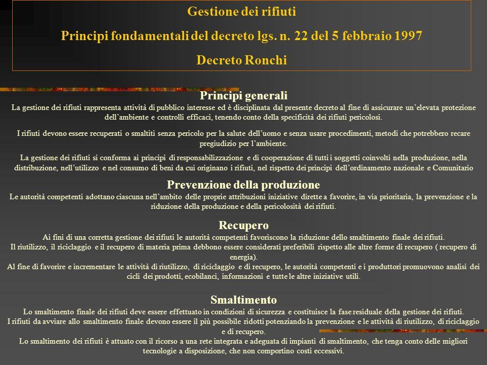 1975 (Direttiva CEE 442 ): Qualsiasi sostanza od oggetto di cui il detentore si disfi o abbia lobbligo di disfarsi 1982 (DPR 915): Qualsiasi sostanza