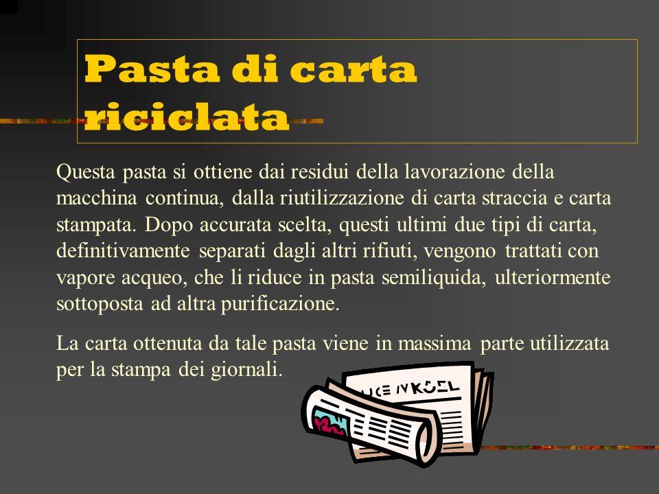 La pasta di legno La produzione di questo tipo di pasta si ottiene avvalendosi di mezzi meccanici.