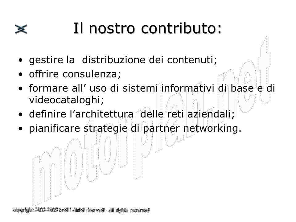gestire la distribuzione dei contenuti; offrire consulenza; formare all uso di sistemi informativi di base e di videocataloghi; definire larchitettura delle reti aziendali; pianificare strategie di partner networking.
