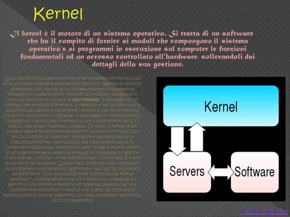 Il kernel è il motore di un sistema operativo. Si tratta di un software che ha il compito di fornire ai moduli che compongono il sistema operativo e a