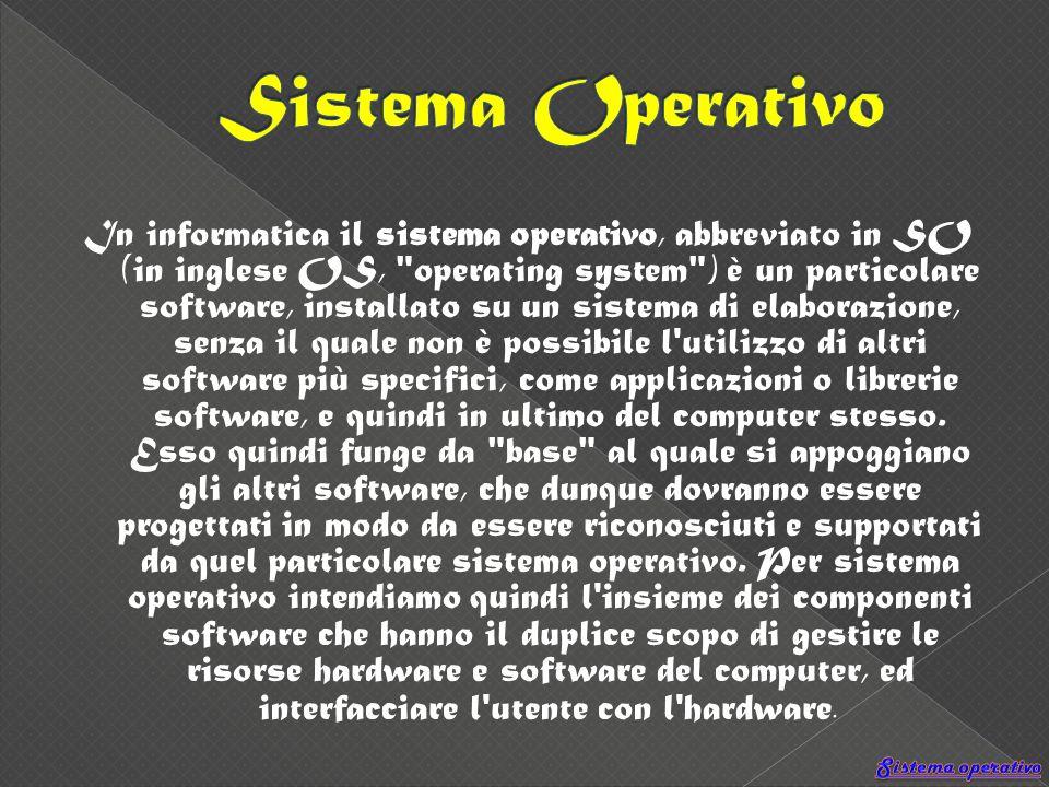 In informatica il sistema operativo, abbreviato in SO (in inglese OS, operating system ) è un particolare software, installato su un sistema di elaborazione, senza il quale non è possibile l utilizzo di altri software più specifici, come applicazioni o librerie software, e quindi in ultimo del computer stesso.