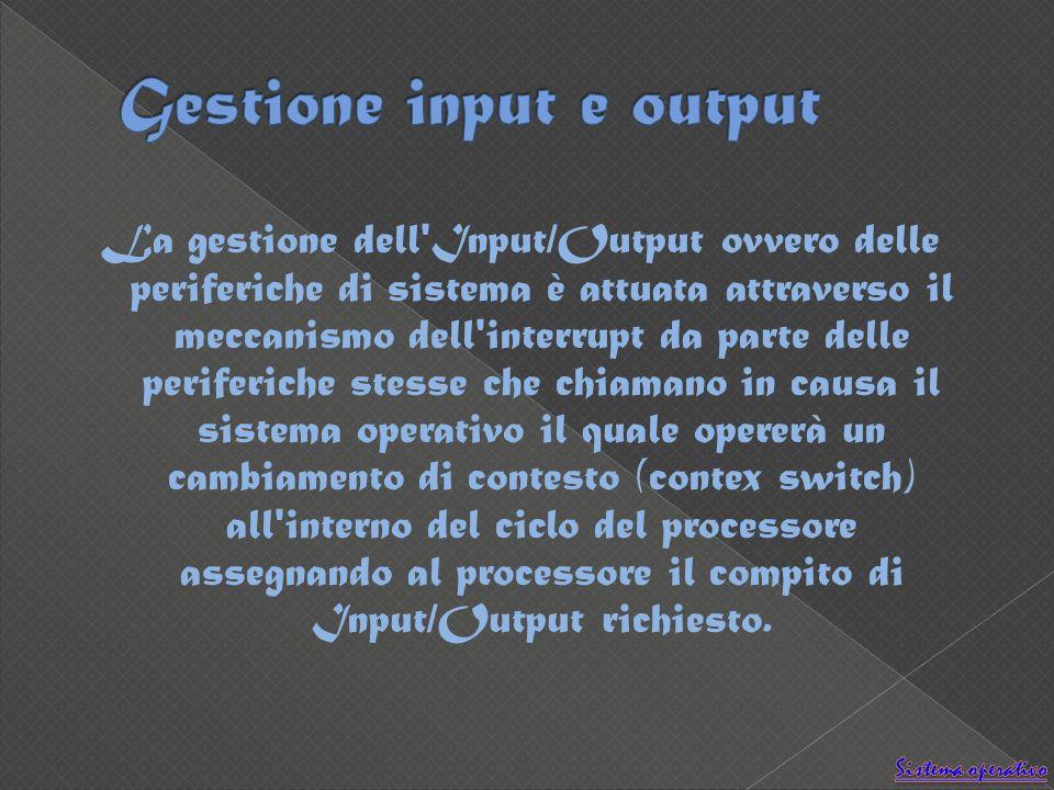 La gestione dell Input/Output ovvero delle periferiche di sistema è attuata attraverso il meccanismo dell interrupt da parte delle periferiche stesse che chiamano in causa il sistema operativo il quale opererà un cambiamento di contesto (contex switch) all interno del ciclo del processore assegnando al processore il compito di Input/Output richiesto.