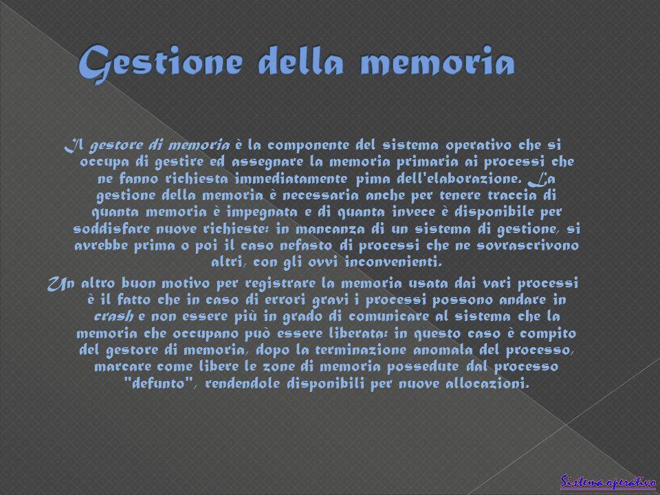 Il gestore di memoria è la componente del sistema operativo che si occupa di gestire ed assegnare la memoria primaria ai processi che ne fanno richies