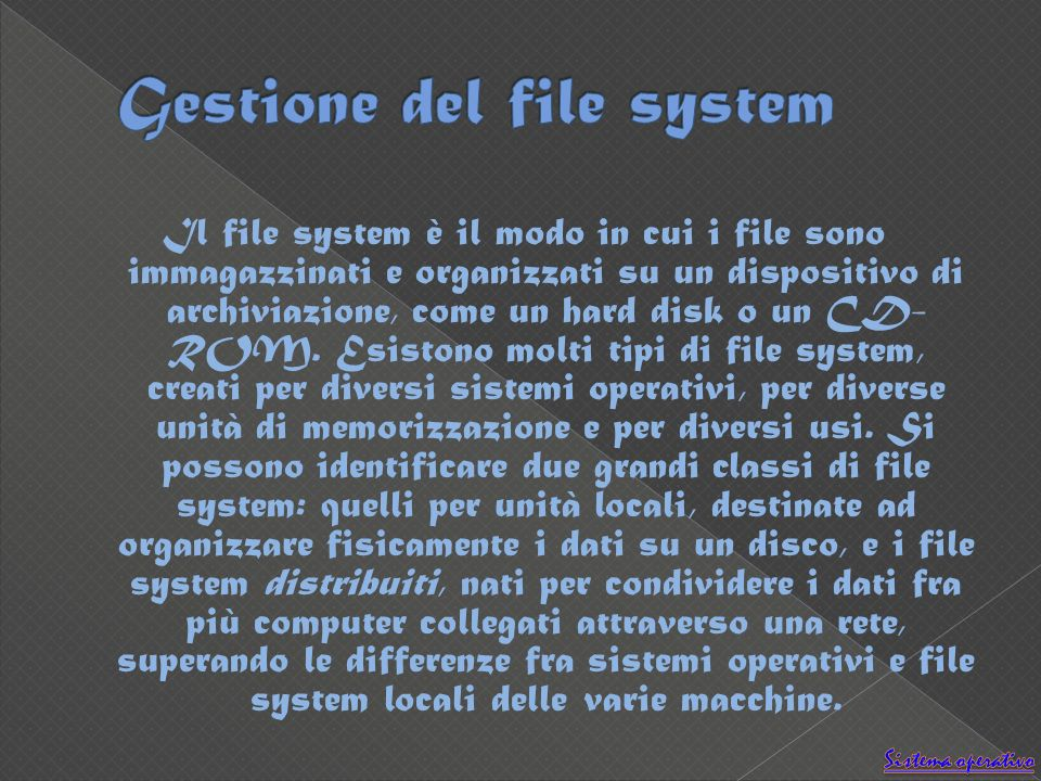 Il file system è il modo in cui i file sono immagazzinati e organizzati su un dispositivo di archiviazione, come un hard disk o un CD- ROM.