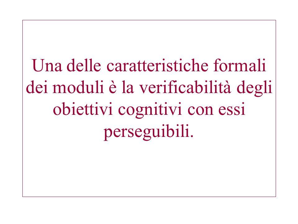 Una delle caratteristiche formali dei moduli è la verificabilità degli obiettivi cognitivi con essi perseguibili.