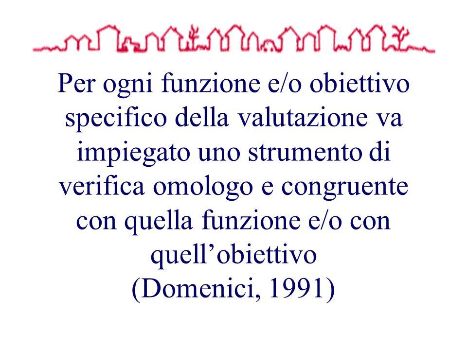Per ogni funzione e/o obiettivo specifico della valutazione va impiegato uno strumento di verifica omologo e congruente con quella funzione e/o con quellobiettivo (Domenici, 1991)
