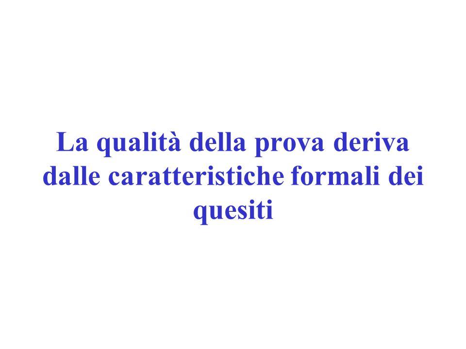 La qualità della prova deriva dalle caratteristiche formali dei quesiti
