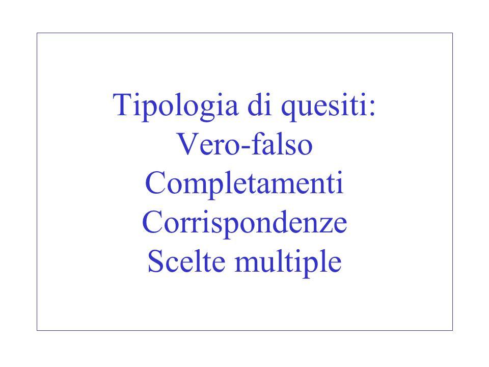 Tipologia di quesiti: Vero-falso Completamenti Corrispondenze Scelte multiple