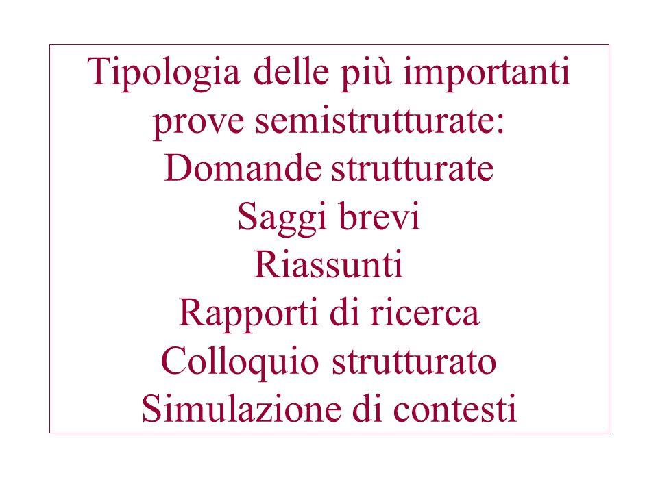 Tipologia delle più importanti prove semistrutturate: Domande strutturate Saggi brevi Riassunti Rapporti di ricerca Colloquio strutturato Simulazione di contesti