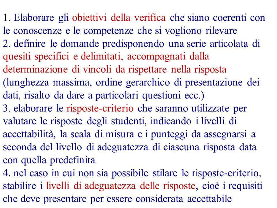 1. Elaborare gli obiettivi della verifica che siano coerenti con le conoscenze e le competenze che si vogliono rilevare 2. definire le domande predisp