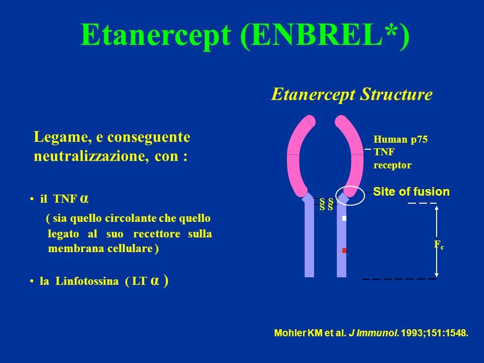 Etanercept (ENBREL*) Mohler KM et al.J Immunol. 1993;151:1548.