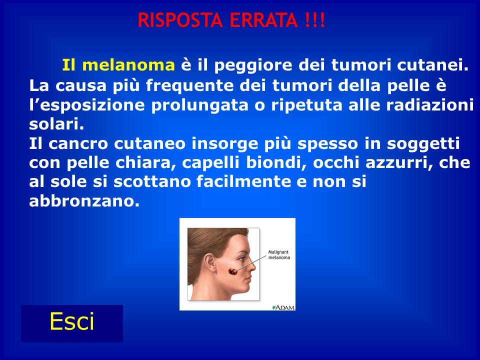 Il melanoma è il peggiore dei tumori cutanei. La causa più frequente dei tumori della pelle è lesposizione prolungata o ripetuta alle radiazioni solar