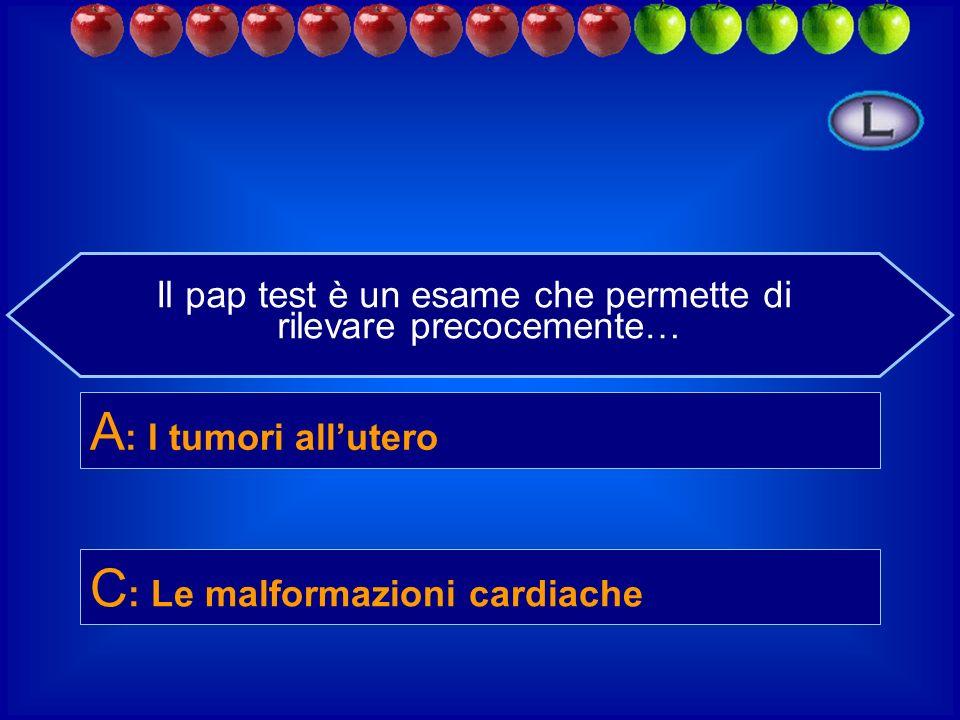 Il pap test è un esame che permette di rilevare precocemente… B : L ernia iatale D : Le alterazioni delle papille gustative C : Le malformazioni cardi