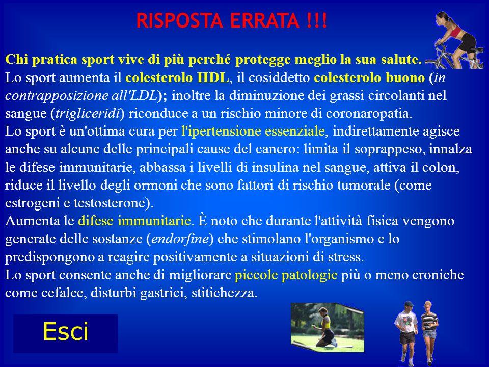 Chi pratica sport vive di più perché protegge meglio la sua salute. Lo sport aumenta il colesterolo HDL, il cosiddetto colesterolo buono (in contrappo