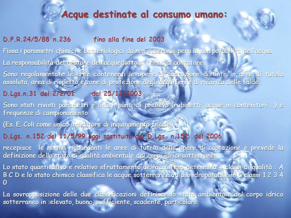 Acque destinate al consumo umano: D.P.R.24/5/88 n.236 fino alla fine del 2003 Fissa i parametri chimici e batteriologici da non superarsi pena la non