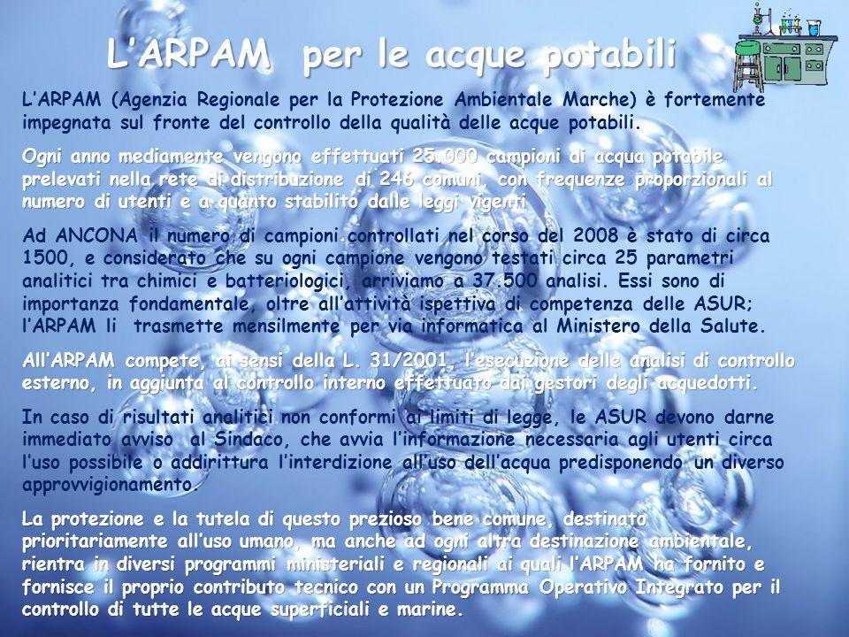 LARPAM per le acque potabili LARPAM (Agenzia Regionale per la Protezione Ambientale Marche) è fortemente impegnata sul fronte del controllo della qual