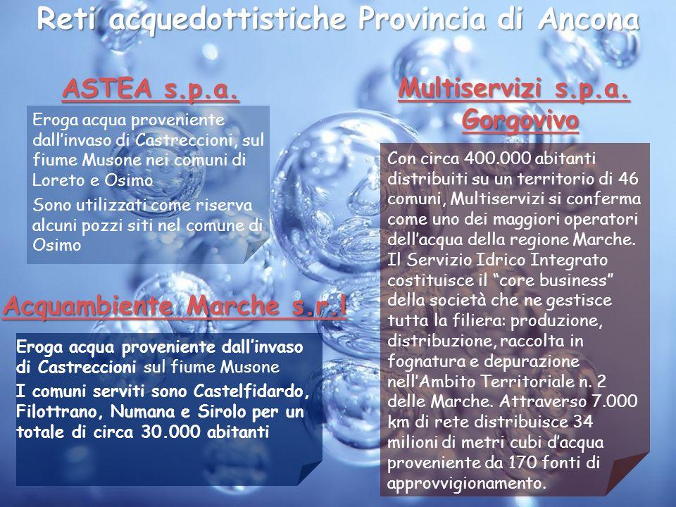 Reti acquedottistiche Provincia di Ancona ASTEA s.p.a. ASTEA s.p.a. Eroga acqua proveniente dallinvaso di Castreccioni, sul fiume Musone nei comuni di