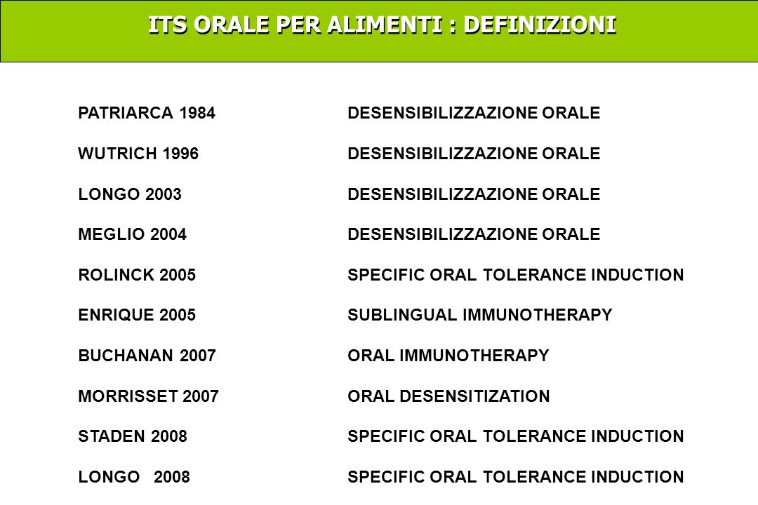 ITS ORALE PER ALIMENTI : DEFINIZIONI PATRIARCA 1984DESENSIBILIZZAZIONE ORALE WUTRICH 1996 DESENSIBILIZZAZIONE ORALE LONGO2003DESENSIBILIZZAZIONE ORALE MEGLIO 2004DESENSIBILIZZAZIONE ORALE ROLINCK 2005SPECIFIC ORAL TOLERANCE INDUCTION ENRIQUE 2005 SUBLINGUAL IMMUNOTHERAPY BUCHANAN 2007ORAL IMMUNOTHERAPY MORRISSET 2007ORAL DESENSITIZATION STADEN 2008SPECIFIC ORAL TOLERANCE INDUCTION LONGO 2008SPECIFIC ORAL TOLERANCE INDUCTION