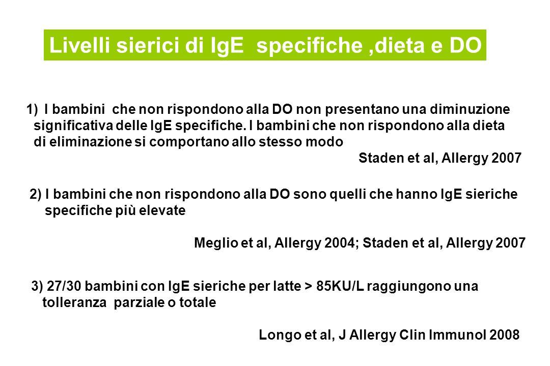 Livelli sierici di IgE specifiche,dieta e DO 1)I bambini che non rispondono alla DO non presentano una diminuzione significativa delle IgE specifiche.