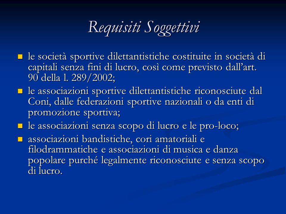 Requisiti Soggettivi le società sportive dilettantistiche costituite in società di capitali senza fini di lucro, così come previsto dallart.